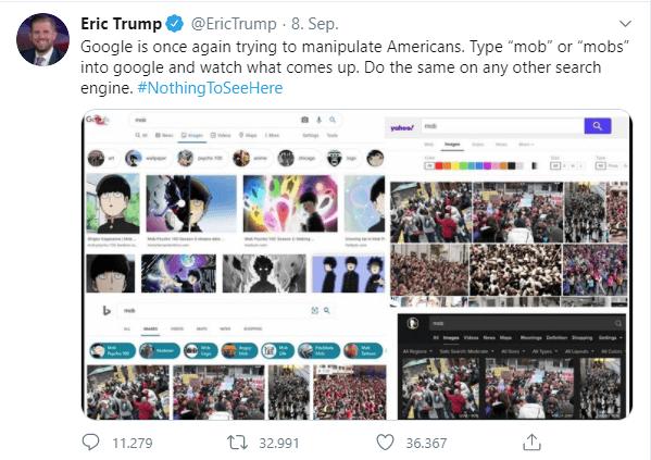 Eric Trump wirft Google Zensur vor